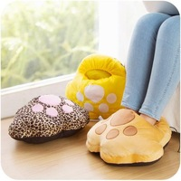 men woman Catlike winter USB Heating slippers fluffy warm Floor claw shoes soft minions velvet Plush home slippers Free shipping