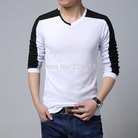 Plus Size M-5XL Men Autumn Fashion V-neck T Shirt Long-sleeve Patchwork T Shirt Men Camisetas Free Shipping