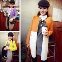 2015 spring new Women / student fashion sweet compound woolen stitching wool coat / jacket