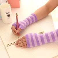 Fashion Colorful Stripe Mid-length Half finger Gloves Warm Wool Gloves