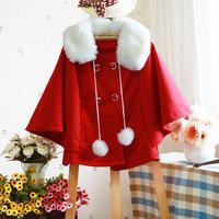 Trench sweet fur collar double breasted wool ball doll three quarter sleeve cloak batwing shirt short design wool woolen