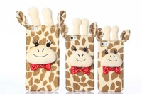 2015 new 3D cartoon animals warm Plush doll Korea Polka Dot giraffe case For iphone 5 5s 6 6 plus 4.7/5.5 inch case cover 10pcs