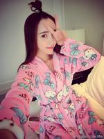 2014 new Winter coral fleece robes cartoon women's long-sleeve bathrobes thickening plus size home casual sleepwear