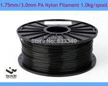 Black color PA Nylon 3D printer filament 1.75mm 3.0mm 1kg/2.2lbs Consumables  for MakerBot/RepRap/UP/Mendel 3D Printer