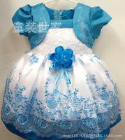 Korean Girls Dress Girls Toddler 3D Flower Tutu Princess Party Dress Kids Bow Formal Dress Free Shipping