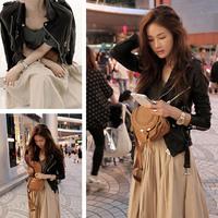 2015 spring new Women / girls short paragraph Slim leather jacket / motorcycle jacket lapel jacket