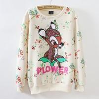 [Magic] Nice ! Women new hoodies flowers print lovely deer print sweatshirts women casual cotton sweatshirt 665 free shipping