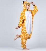 Giraffe Unisex Adult Flannel Pajamas Adults Cosplay Cartoon Cute Animal Onesies Sleepwear Suit Nightclothes Giraffe