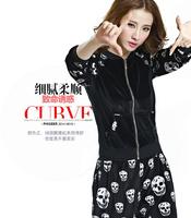 autumn and winter velvet sweatshirt fashion casual cardigans plus size women clothing XL_3XL