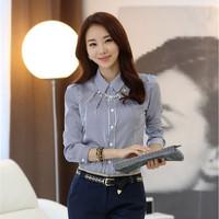 2015 New Spring Fashion Camisas Femininas Elegant Slim Striped Cotton Work Shirt Plus Size Long-Sleeved Blouses