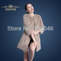 z65 New arrive European women genuine rex rabbit fur long coat with real fox fur sleeves elegant jacket winter overcoat parkas