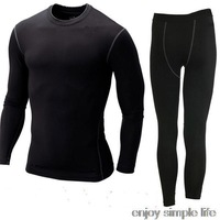 2014 new Men's long johns sports training suit tight sets wicking sport clothes set Longsleeve shirt with pants