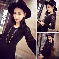 new women's temperament long-sleeved dress spring and autumn female Korean fashion was thin Autumn 2014