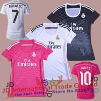 Best Thai Quality 2015 Real Madrid Women Soccer Jersey 14 15 JAMES BALE KROOS RONALDO RAMOS Girl Soccer Shirt 14/15 Lady Shirt