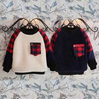 2014 winter plaid boys clothing girls clothing child plus velvet thickening sweatshirt outerwear wt-4373