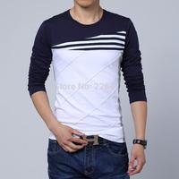 Mens t shirts fashion 2014 color block decoration o-neck tshirt long-sleeve basic t shirt men plus size M-5XL Free Shipping