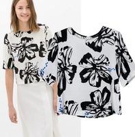 2015 European Style Women T-shirt O-neck Short Sleeve Cotton Floral Summer Shirt Famous Brand Tops Blouse CL2249