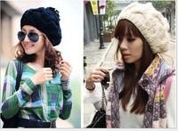 Berets cap womens hats wool hat winter knitted wholesale free shipping Korean twist pumpkin hat big ball