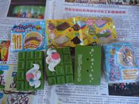 10pcs/lots 7cm cracking chocolate bar squishy in original packing  green colors