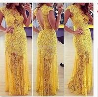 2014 A-line High Collar Cap Sleeve Yellow Lace Applique Long Sexy Vestido De Festa Party Evening Dress Gown Prom Dress Plus Size