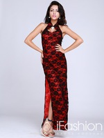 Sexy vintage halter backless vent ankle length lace layered sheath evening dresses 2014 free shipping LF19