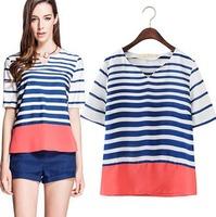 2015 European Style Casual Striped Patchwork Women T-shirt V-neck Chiffon Woven Summer Shirt Famous Brand Tops Blouse CL2186