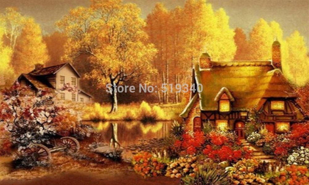 New hot sale needlework free shipping full rhinestone diy diamond painting set fall landscape dream house resin embroidery 45x27(China (Mainland))