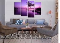 Landscape Canvas Prints Modern Oil Painting Picture Printed On Canvas Purple Lake 4 piece home decor LA4008