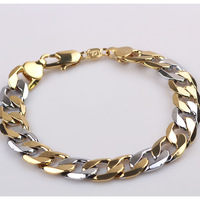 """Massive Mens Bracelets 18K Yellow/White Gold Filled 9.5"""" 12MM Solid Curb Chain Link Fashion GF Jewelry Free Shipping"""