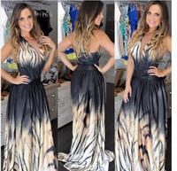 women long maxi dresses Vestido estampa zebra Maxi Longo degrade Animal print prom dress vestido de festa