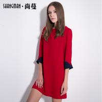 Shang Man 2014 winter new long-sleeved dress in loose waist dress women bottoming solid straight skirt