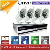 Onvif 4Channel 720P WIFI IP Waterproof Camera System NVR Kit support 2*2TB HDD Day and Night