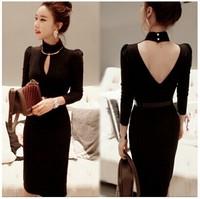 Free Shipping Korean Nightclubs Sexy Slim Package Hip Halter Thin Backless Dress , Medium-Long Dresses