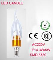SMD5730 E14  3W 5W 220V LED White/Warm white High Power LED Bulb Lamp Candle Light Energy Saving gold B2