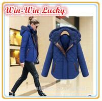 2014 New Women's Winter Clothing Thick Warm Cotton Coat Fashion Short Cotton Jacket Women Overcoat Winter Parka Blue Black S-XL