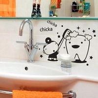Can remove the bathroom toilet bathroom wall stickers Cartoon fun brushing free stickers