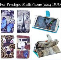 Luxury Cell Phone Accessories print cartoon Case flip pu leather case for Prestigio MultiPhone 3404 DUO ,gift