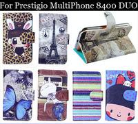 Luxury Cell Phone Accessories print cartoon Case flip pu leather case for Prestigio MultiPhone 8400 DUO ,gift