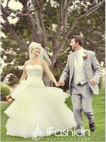 100% Real Photos Elegant satin bodice on tulle skirt with handmade flower on waist A-line wedding dress  2014 dd8