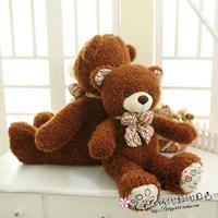 large 80cm scarf teddy bear plush toy dark brown bear birthday gift b7779