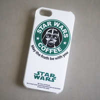 Fashion Starbucks Star wars coffee design Darth Vader phone case for iphone6 PLUS iphone 5 5S phone Case 1 piece free shipping