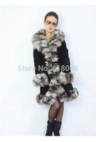 New collection elegant women real natural fox fur long coat plus size ladies coats jackets slim winter furs overcoat parkas