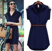 WZ12-14 2015 European and American women's brand short-sleeved summer shirt dress loose large size women dress