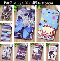 Luxury Cell Phone Accessories print cartoon Case flip pu leather case for Prestigio MultiPhone 5430 ,gift