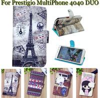 Luxury Cell Phone Accessories print cartoon Case flip pu leather case for Prestigio MultiPhone 4040 DUO ,gift