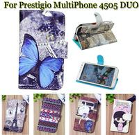 Luxury Cell Phone Accessories print cartoon Case flip pu leather case for Prestigio MultiPhone 4505 DUO ,gift