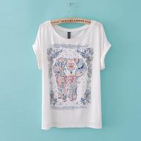 Unique 2014 New Fashion Women Elephant Pattern Printing Casual Fashion Women'S Round Neck T-Shirt Female Tops Shirts
