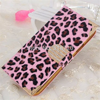 For Iphone 4 4G 4S Luxury Leopard grain Wallet diamond Metal edge design Magnetic Holster Flip Leather Case Cover D658
