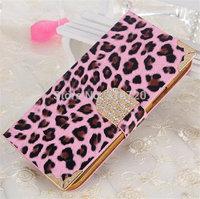 For Iphone 4 4G 4S Luxury Leopard grain Wallet diamond Metal edge design Magnetic Holster Flip Leather Case Cover D658