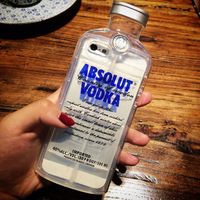 New Style Luxury absolute Vodka alcohol Wine Bottle Transparent Clear TPU Phone Case For Iphone 6 Plus YC062